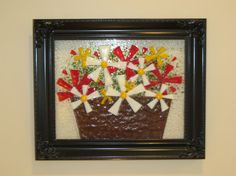 Framed floral fused glass still life with clear glass background. Beautiful and unique! on Etsy, $100.00