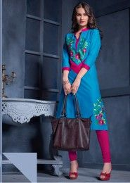 Casual Wear Cotton Sky Blue Embroidered Work Kurti