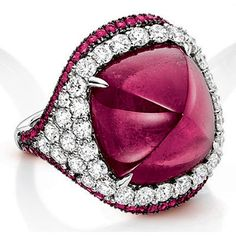 Lux Bond & Green | Square Rubellite and Diamond Ring Ladies Rings