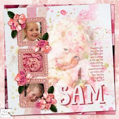 SAM: My niece never knows just how to smile :)  I made this page with Christmas Lullaby by Altered Amanda's Studio, available at Go Digital Scrapbooking.