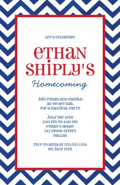 Sky Writer Welcome Home Party Invitations Homecoming Party