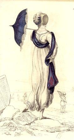 ✍ Jane Austen ✍ Regency maid with parasol Jane Austen, Regency Dress, Regency Era, Jeanne Paquin, Rey George, Beach Costume, Madeleine Vionnet, Muslin Dress, Umbrellas Parasols