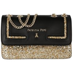 Patrizia Pepe Evening Bag - Mini Clutch Gold/Black - in gold, black -... ($260) ❤ liked on Polyvore featuring bags, handbags, chain handle handbags, evening handbags, woven handbags, hand woven bags and chain handle purses