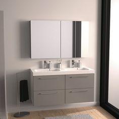 mobile moderno per arredo bagno dallas 100cm, specchio illuminato ... - Lucido Cabinet Grigio Lavandino
