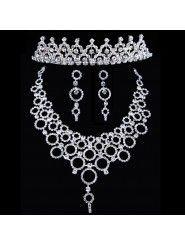 Shining Rhinestones Wedding Jewelry Set - Earrings,Necklace and Headpiece