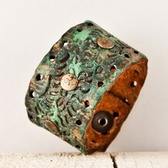 Tooled Leather Cuff Bracelet Valentine's Gift For Her by rainwheel, $49.75