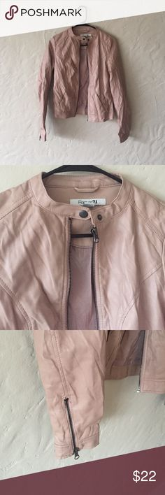 Tan leather jacket Bought from another posher and gently used! Super cute jacket! Realized it's a little small on me! Forever 21 Jackets & Coats