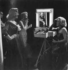 """Marilyn Monroe with Lauren Bacall and Betty Grable on the set of """"How To Marry A Millionaire"""", 1953."""