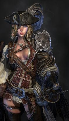 Pirate Female by Yongdall - Lee YongHyun - Pirate Art, Pirate Woman, Pirate Life, Pirate Wench, Lady Pirate, Fantasy Art Women, Fantasy Girl, Fantasy Characters, Female Characters