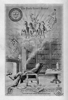 [Bookplate of Sam'l. W. French]    Description: States, 'Ex Libris Sam'l W. French, M.D.' with motto ''I give light to all nations throughout the ages;' depicts a library setting with a man smoking while sitting at a fireplace. The smoke creates an image of a Greek warrior in a carriage pulled by four horses. A painter's palette, a shield, and the 'Academiae Harvardianae' emblem are also featured. Unsigned.