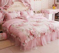 Fadfay Home Textile Romantic Rose Print Princess Lace Ruffle 4pc Set Pink   eBay