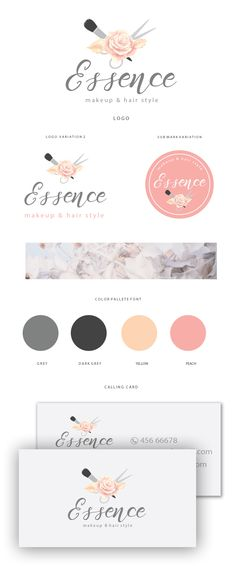 up logo Branding kit logo design - Makeup logo design - Beauty logo design - Beauty branding package - Rose gold beauty branding - Hair logo Essence Makeup, Beauty Makeup, Flower Shop Names, Shop Name Ideas, Logo Minimalista, Name Card Design, Branding Kit, Brand Identity, Logos