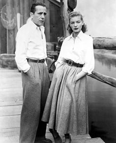 """Legendary Hollywood couple """"Bogie and Bacall"""" starred together in the 1948 film Key Largo in which one scene features them both stylishly clad in white button-downs."""