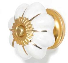 White and Gold Cupboard Door Knob