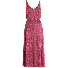 ZIMMERMANN Karmic V Picnic Dress (4,780 GTQ) ❤ liked on Polyvore featuring dresses, red v neck dress, print dress, paisley dress, mid calf dresses and pattern dress