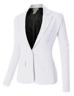LE3NO Womens Single Button Oversized Boyfriend Blazer