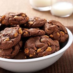 """Chocolate Peanut Butter Chip Cookies Recipe -""""It's a snap to make a batch of tasty cookies using this recipe, which calls for a convenient boxed cake mix,"""" relates Mary Pulyer of Port St. Lucie, Florida. """"My husband and son gobble them up."""""""