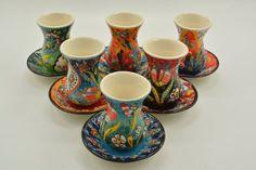 Turkish Ottoman Tea Ceramic Cups Set of 6 Colorful Handpainted | Etsy Tea And Crumpets, Turkish Tea, Ceramic Coasters, Handmade Tiles, Decorative Tile, Cupping Set, Ceramic Cups, Mugs Set, Ottoman