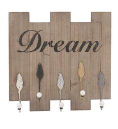 WOODEN_METAL WALL HANGER 'DREAM' 51X10X53