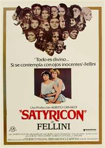 "Movie poster for ""Satyricon"" by F. Fellini (1976)."
