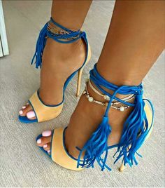 2016 Summer Celebrity Fashion Beige Suede Sandal Blue Tassels Ankle Lace Up High Heels Woman Sexy Pumps Thin Heel Stiletto Shoes Hot Shoes, Crazy Shoes, Me Too Shoes, Blue Shoes, High Heels Stiletto, Sexy High Heels, Stilettos, Pretty Shoes, Beautiful Shoes