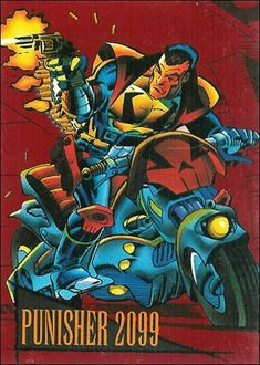 Punisher 2099 Marvel 2099, Punisher Marvel, Marvel Comics, Doom 2099, Marvel Cards, Incredible Hulk, Comic Book Covers, Trading Cards, Cyberpunk