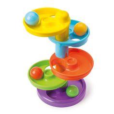 4 boules colorées dévalent les 5 étages du toboggan Manibul. L'enfant attrape les balles les unes et après les autres et les posent sur le plateau le plus haut. Puis, il suit des yeux le trajet de chaque boule. Il reprend la balle une fois arrivée à la fin de son parcours et la replace en haut du toboggan. C'est amusant et stimulant de regarder et de manipuler. Avec ce toboggan à balles, l'enfant affine sa motricité fine et développe sa concentration.