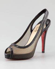 Christian Louboutin Canne a Peche Fishnet Platform Peep-Toe Pump  (sling-back shoes are my favorite)