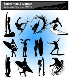 Surfers silhouette / skateboard silhouette / vector surfers /