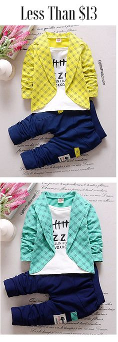 cute baby boy outfit for Kindergarten. Find this three piece set (blazer+ t-shirt + pants) at just $12.59. Click to shop.