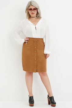 Plus Size Button-Front Faux Suede Skirt