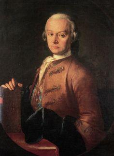 Famous Violinist (Classical era): Leopold Mozart, about 1765. Portrait in oils attributed to Pietro Antonio Lorenzoni
