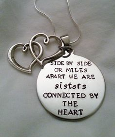 sisters quotes, tattoo quotes, mile apart, sister quotes, cute quotes for sisters, sister tattoos, sister necklace, heart tattoos, gifts for sister