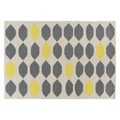 TRILLO Medium grey and yellow cotton rug 140 x 200cm ($255) ❤ liked on Polyvore featuring home, rugs, flatweave cotton rug, flat woven area rugs, yellow area rug, yellow gray rug and gray area rug