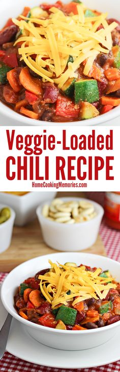 This Veggie Loaded Chili recipe is a one-pot dinner that's packed with healthy vegetables - like carrots & zucchini - and fiber-rich beans. It's great for any occasion from game day to a family dinner (Cajun Chicken Stew) Chili Recipes, Veggie Recipes, Soup Recipes, Vegetarian Recipes, Dinner Recipes, Cooking Recipes, Healthy Recipes, Kitchens, Vegetarische Rezepte