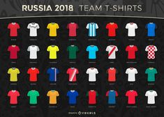 Russia 2018 World Cup design with the logo and t-shirts of all the countries competing. Russia 2018 logo and elements can only be used for editorial use or with