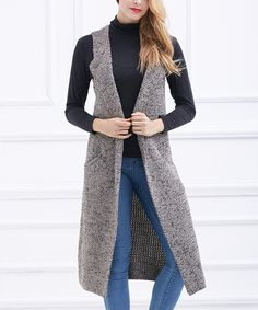 Look what I found on #zulily! Simply Couture Taupe Long Open Vest by Simply Couture #zulilyfinds
