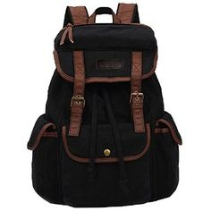 Koolertron Vintage Women Men Canvas Backpack Leather Trim Book Bag Rucksack Shoulder Bag (Black)
