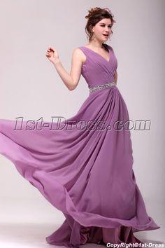 4073ee4e0f1 Vintage Lilac Chiffon V-neckline Plus Size Party Dress