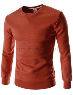 (FLT03-ORANGE) Mens Slim Fit Round Neck Point Basic Cotton Colorful Long Sleeve Tshirts