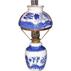 Offered here is a very nice Miniature Hurricane Lamp in the always attractive Blue Willow pattern. Blue Chinaware, Blue Willow China, Willow Pattern, Hurricane Lamps, Doll Houses, Bathroom Interior, Miniatures, Blue And White, Lighting