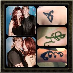 Collage of the costume my boyfriend and I had for the Sadie Hawkins dance. It was very fun. We are dressed like Jace Herondale and Clary Fray from the Mortal Instruments Series. The marks are the runes on my arms and back.
