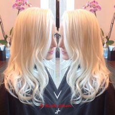 Icey platinum blond     ombré   balayage   soft waves   blond high lights   fall colors    Great hair and services live at D-Rock Salon, Fairfax   703-293-9400 Drocksalon.com