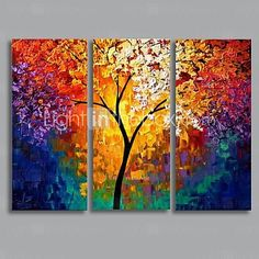 Modern Landscape Oil Painting with Stretched Frame Set of 3 Hand-Painted Canvas - USD $ 94.99