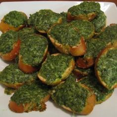 Pesto Crostini from foodwelldone..a great way to use my homegrown basil.