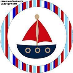 Menino Marinheiro Azul e Vermelho - Kit Completo com molduras para convites, rótulos para guloseimas, lembrancinhas e imagens!