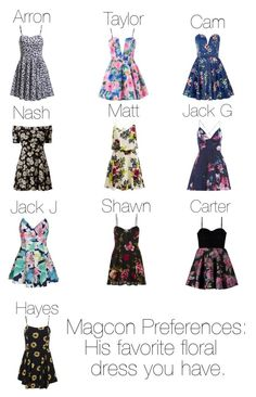 """""""Magcon Preferences: His favorite floral dress you have"""" by macbarbie152 ❤ liked on Polyvore featuring AX Paris, TFNC, VILA, Ally Fashion and MINKPINK"""