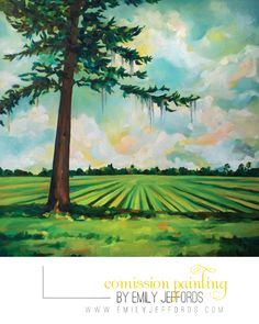 Spanish Moss & Peanut Field: Commission #Oil #Landscape #Painting by Emily Jeffords    ...BTW,Please Check this out:  http://artcaffeine.imobileappsys.com