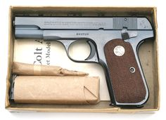Colt Model 1903 Pocket Hammerless ACP pistol serial number 559768 - U. PROPERTY marked, blue finish, checkered walnut stocks issued to Lt. Rifles, 32 Acp, Concealed Carry Weapons, Custom Leather Holsters, Pocket Pistol, Shooting Guns, Military Guns, Revolvers, Guns And Ammo