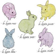 Lapins Colorés Colorful Rabbits Archival by SarahDrawsThings